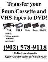 Transfer your VHS and 8mm tapes to DVD!!  For ONLY $10!!