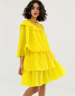 HOUSE OF HOLLAND YELLOW FRILL DRESS SIZE 10