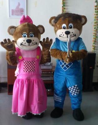 uk Adults Sundown Farm Bears Mascot Costume Facny Dress Halloween Cosplay 2pc - Bear Halloween Costume Uk