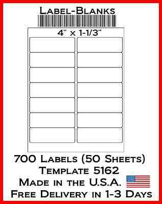 700 Laserink Jet Labels. 4 X 1.33 1 13 14 Address Compatible W Size 5162