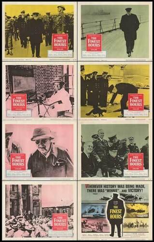 THE FINEST HOURS orig WW2 1964 movie documentary lobbycard set WINSTON CHURCHILL