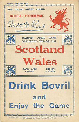 WALES v SCOTLAND 7 Feb 1931 RUGBY PROGRAMME at CARDIFF