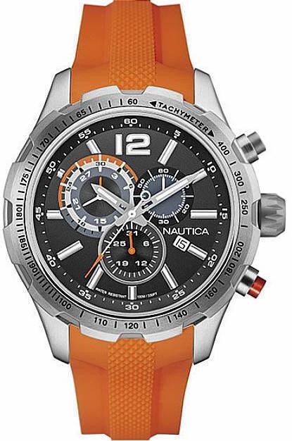 nautica men s nad15510g nst 30 analog display quartz orange watch men s nautica chronograph orange silicone band watch nad15510g