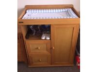 Pine Baby Changer And Wardrobe with Drawers