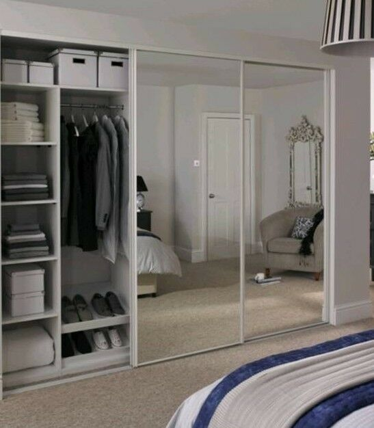 wholesale dealer ea63f 07af8 Set of 3 white sliding mirrored doors from Howdens | in Merthyr Tydfil |  Gumtree
