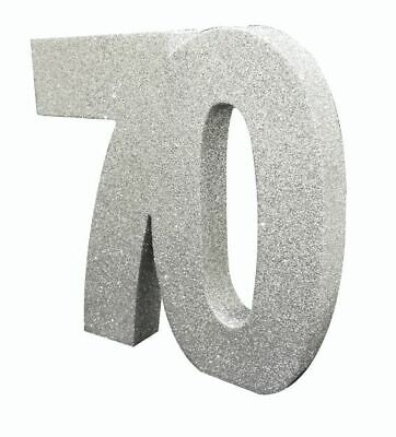 ** SILVER GLITTER TABLE DECORATION 70 YEARS 70th BIRTHDAY PARTY 8