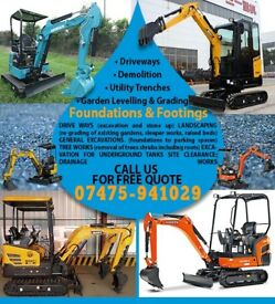 Mini Digger hire with operator providing all aspects of Excavation services