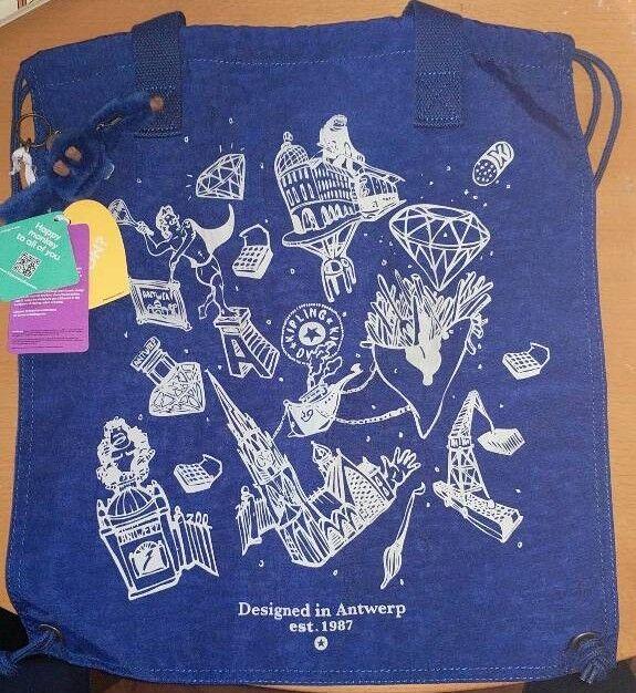 Kipling Hiphurray Anniversary Edition Tote Bag - Blue & White BNWT & Charm
