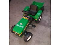 Kids Ride On Green Tractor With Trailer