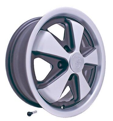FUCH WHEEL MATTE SILVER/BLACK ,W/FREE CHROME VALVE STEM, 911, 912