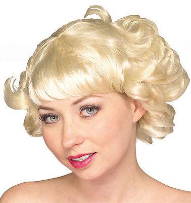 Womens Blonde Flip Wig Short Flapper Hair Curls Curly Grease Rocker 20s - Grease Wig