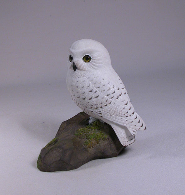 "5"" Snowy Owl Original Wood Bird Carving/Birdhug"