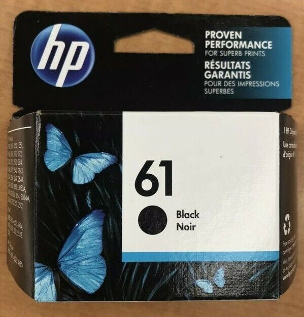 New Genuine HP 61 Black Ink Cartridge - Exp 2022 - Free Shipping! Brand New