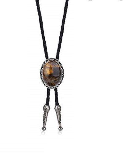 "Western Tiger Eye Bolo Tie - Wedding Leather 40"" Cowboy Necklace New"