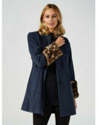 Helene Berman Collarless Faux Fur Cuff Coat in blue, uk size 10 182542-LQT (47)