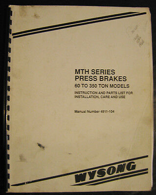 Wysong Mth 60-350 Ton Shear Instructions Parts Lists For Installation Manual