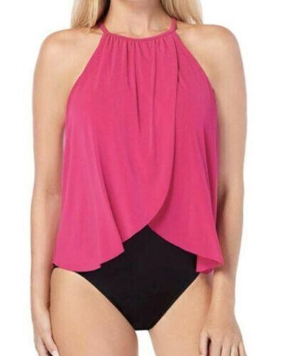 Magicsuit Aubrey 16 Tankini Rose Pink Draped Halter One-Piece Swimsuit