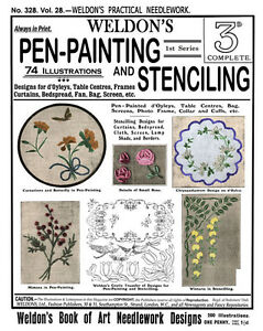 Weldons-2D-328-c-1912-Vintage-Instructions-for-Pen-Painting-Stencilling
