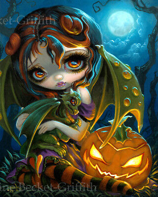 Jasmine Becket-Griffith art print pumpkin fairy SIGNED Halloween Dragonling