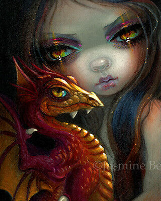 Jasmine Becket-Griffith fairy dragon art print SIGNED Golden Eyed Dragonling for sale  Shipping to Canada