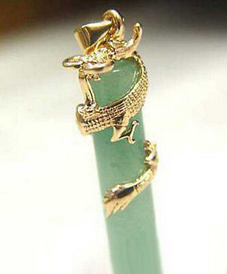 Yellow Gold Plated Dragon Coil Natural Light Green Jade Pendant   Necklace