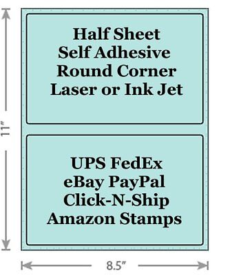 Pastel Blue Shipping Labels 8.5x5.5 Half Sheet Self Adhesive Ebay Paypal