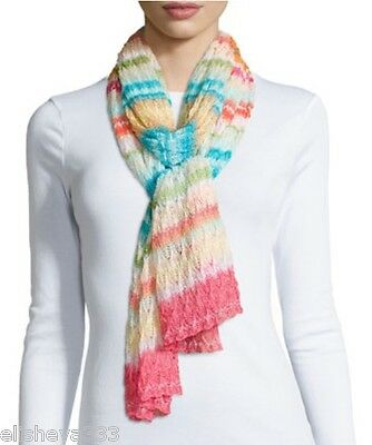 $575 Missoni Striped Zigzag Long Scarf Multi-Color Made in Italy Knit Zig Zag