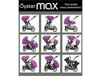 Tandem/double oyster pushchair in grape