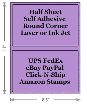 Standard Purple Shipping Labels 8.5x5.5 Half Sheet Self Adhesive Ebay Paypal