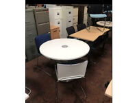 1400mm White Round Office Desk Intergrated Power & USB Ports
