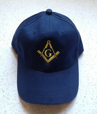 Masonic Blue Lodge Embroidered Cap In Navy Blue