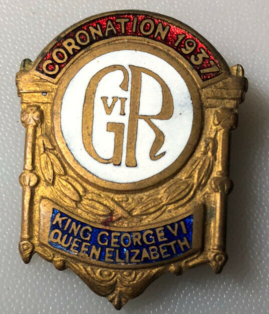 1937 Coronation King George VI Queen Elizabeth Button Pin Back Badge Pinback