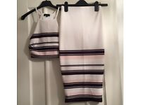 Baby Pink, White and Black striped 2 piece
