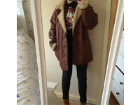 Vintage paragon leather brown sheepskin coat for sale