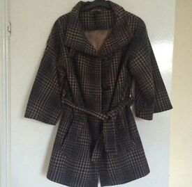 TOPSHOP belted checked kimono style coat jacket brown wool tartan checked