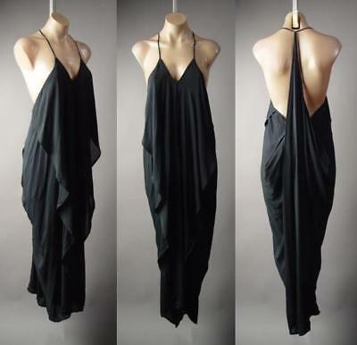 Black Ruffle Drape Grecian Goddess Long Maxi Cami Slip Gown 216 mv Dress S M L](Greek Goddesses Dresses)