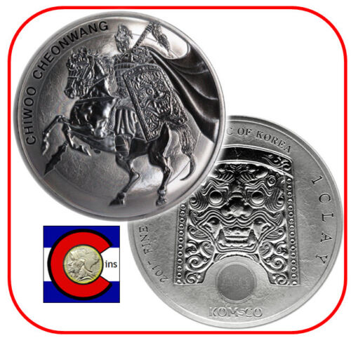 2017 South Korea Chiwoo Cheonwang 1oz 0.999 Silver Medal/Coin in airtite