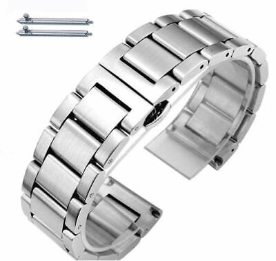 Stainless Steel Brushed Metal Replacement Watch Band Strap Butterfly Clasp -