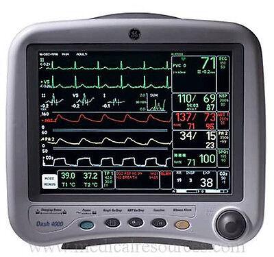 Ge Dash 4000 Patient Monitor - With Printer Nellcor Spo2 Temperature Nibp