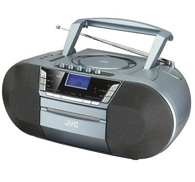 JVC RC-D327B WIRELESS BLUETOOTH DAB/FM BOOMBOX GREY CD CASSETTE PLAYER USB