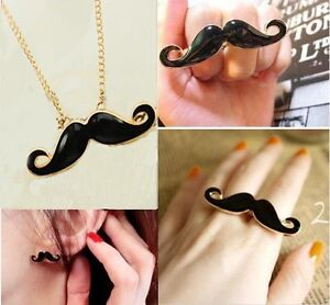 Funny-Retro-Moustache-Set-Pendant-Necklace-Chain-Double-Finger-Ring-Earring-Stud