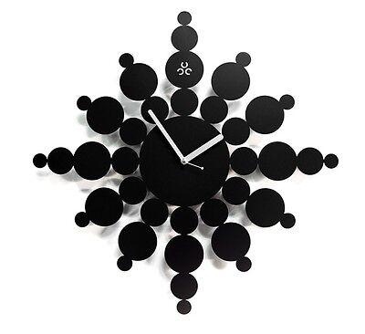 Snowflake Large Wall Clock Modern Steel Home Decor Clock Art Unique Design Black