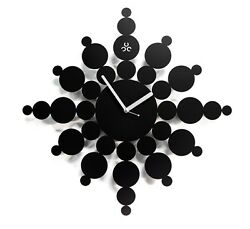 Snowflake Large Wall Clock Modern Steel Home Decor Clock Art Unique Design Black