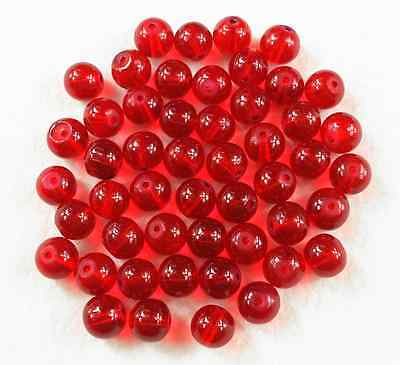 100Pcs 6mm Beads Red Czech Crystal Glass Round Spacer Loose Beads