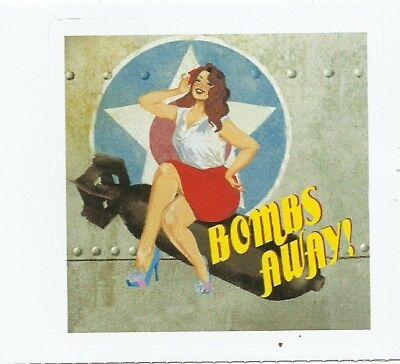 (BOMBS AWAY WORLD WAR 2 NOSE ART PIN UP GIRL  Sticker Decal )