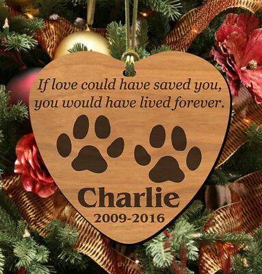 Love Saved~ PERSONALIZED Pet Memorial Ornament, Wooden Keepsake for Dog or Cat