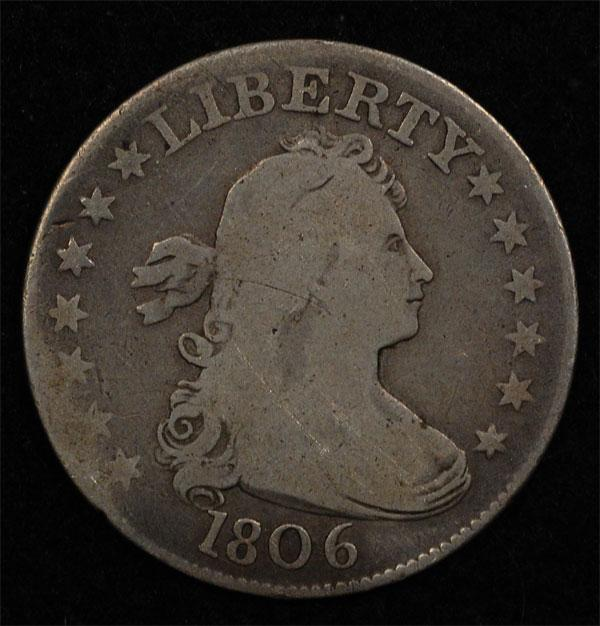 1806 Draped Bust Quarter, original VG, better variety