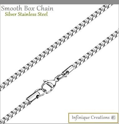"""Stainless Steel Silver Box Chain Bracelet and Necklace Men Women 1mm-4mm 7""""-38"""""""