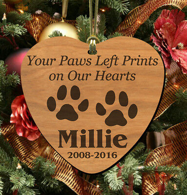 Our Hearts~ PERSONALIZED Pet Memorial Ornament, Wooden Keepsake for Dog or Cat