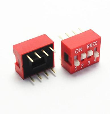 10pcs Red 2.54mm Pitch 4-bit 4 Positions Ways Slide Type Dip Switch Z3